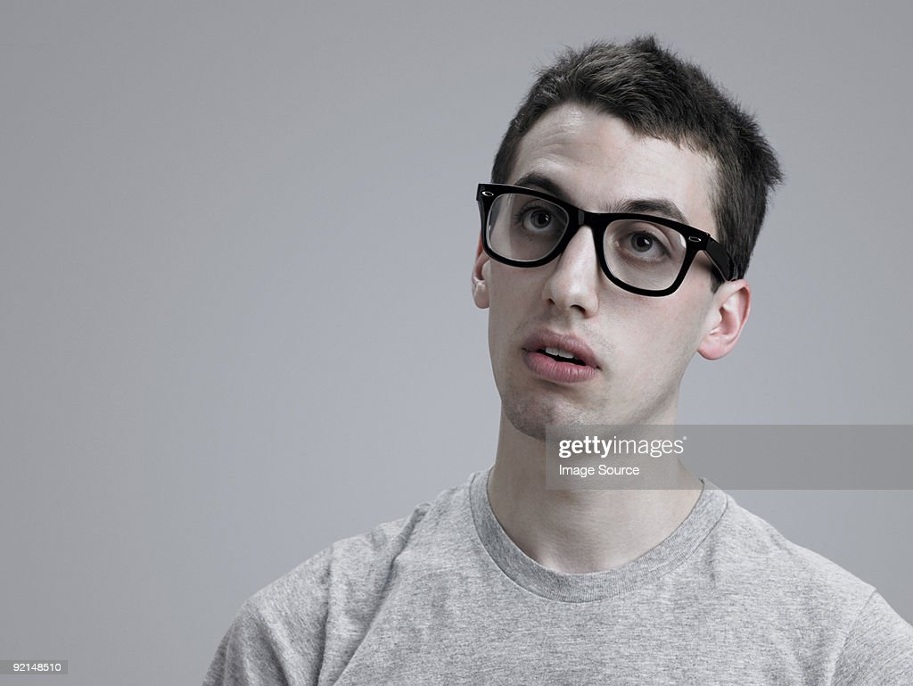 Young man wearing glasses : Stock Photo