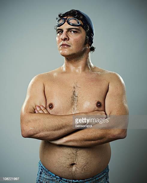 Young man Wearing Swimming Gear