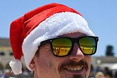 sydney australia young man wears santa