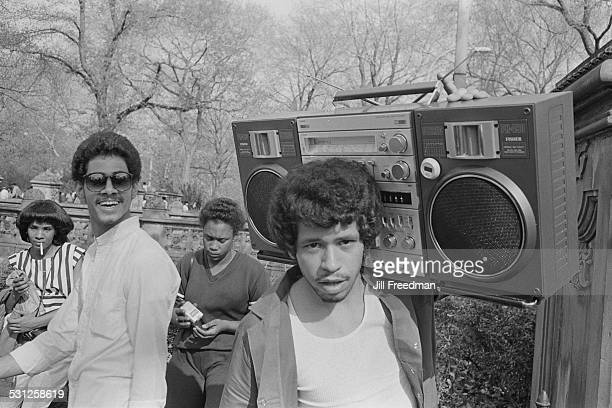 A young man with a Fisher PH 490 Boombox in Central Park New York City circa 1976