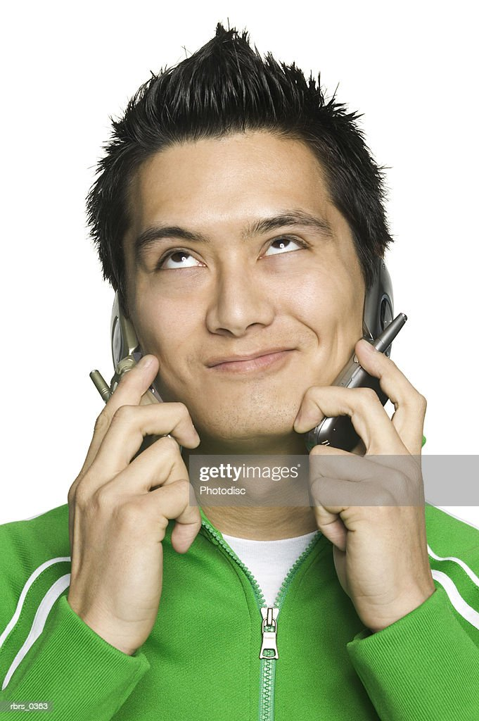 Young man with a mobile phone : Foto de stock