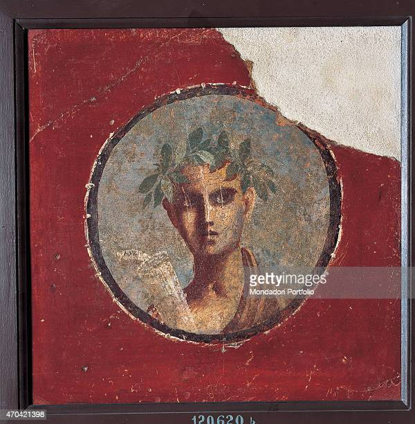 'Young Man with a Roll by unknown artist 5079 1st Century AD ripped fresco 10 x 8 cm Italy Campania Naples National Archaeological Museum Room...