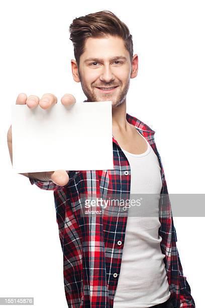 Junger Mann mit leeren Karte