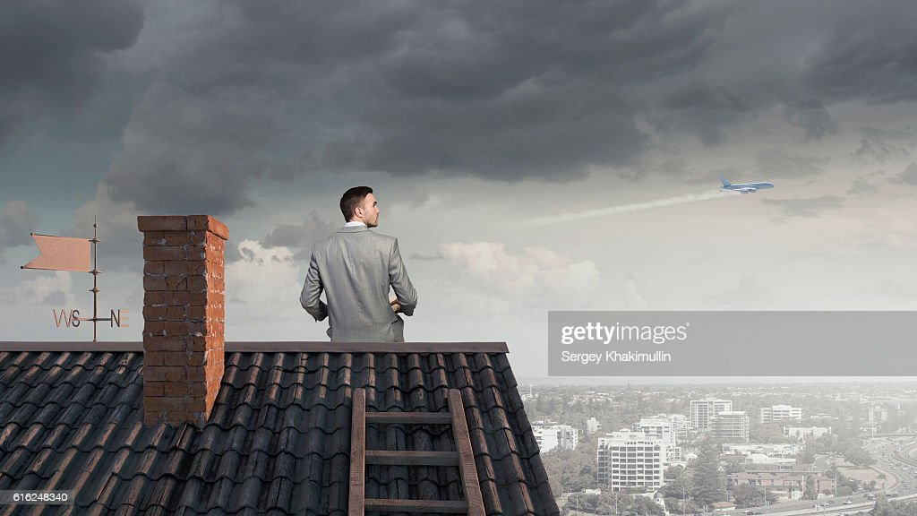 Young man with book . Mixed media : Stock Photo