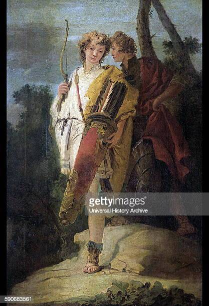 Young Man with Bow and large Quiver and his Companion with a Shield' by Giovanni Battista Tiepolo 1750 Oil on canvas