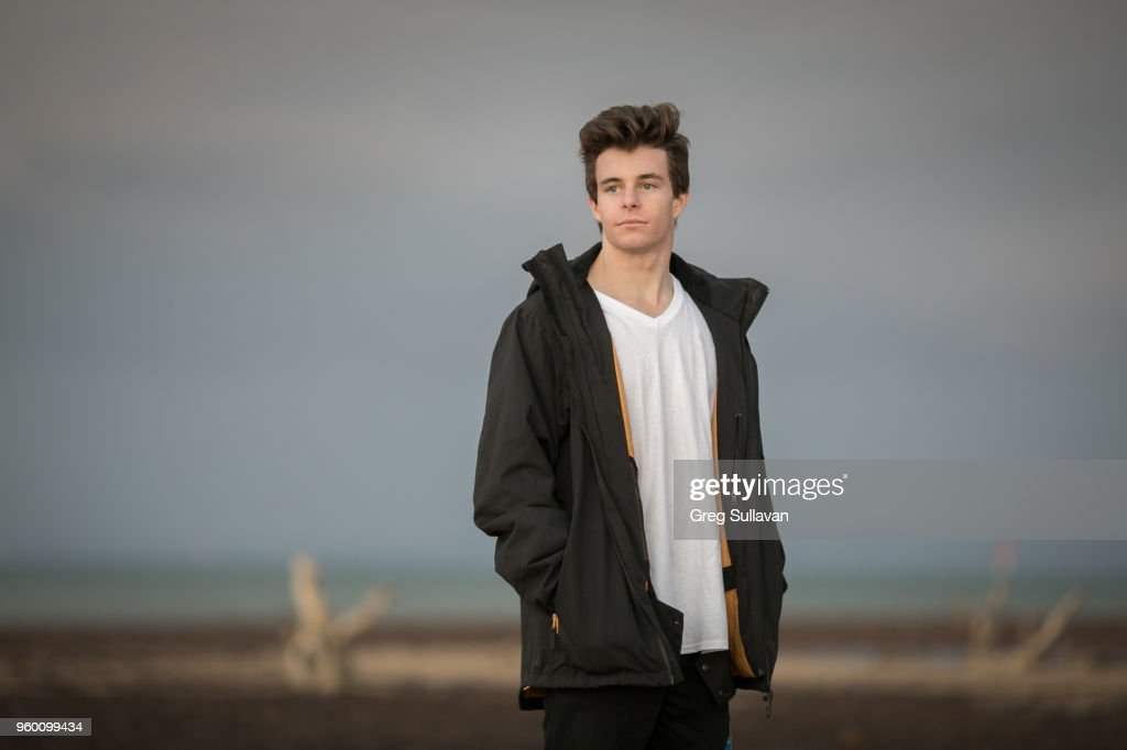 Young man with dark jacket : Stock-Foto