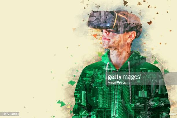 Young man with glasses of virtual reality. Conceptual image