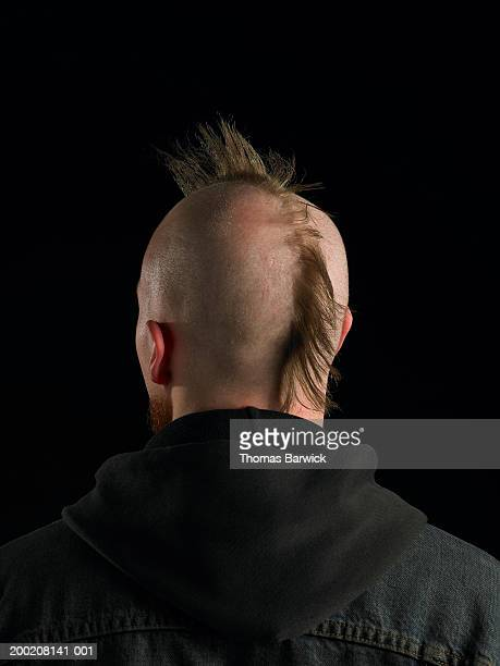 Young man with mohawk, rear view