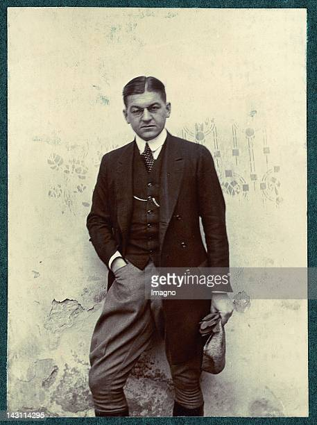 Young man with monocle, wearing riding clothes. Photograph. Italy. 1909.