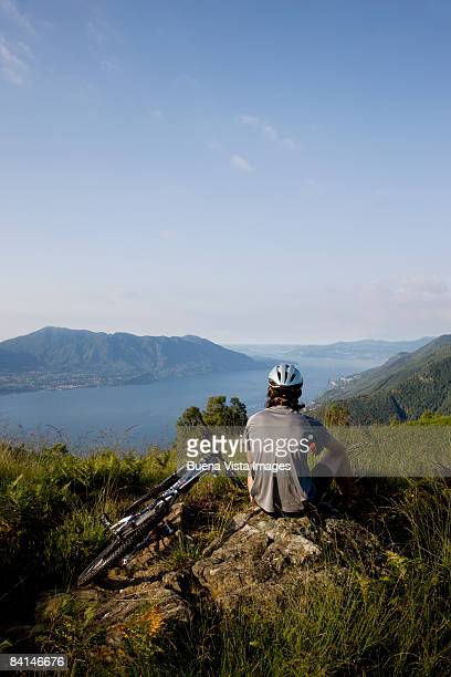 Young man with mountain bike.