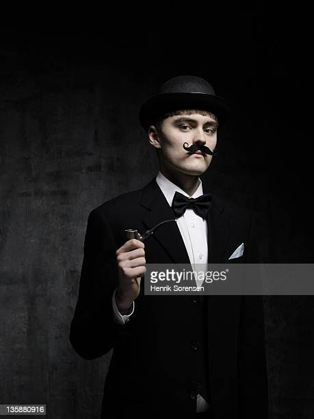 young man with moustache and bowlerhat
