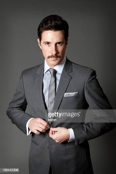 giovane uomo con i baffi - pochette bavero foto e immagini stock