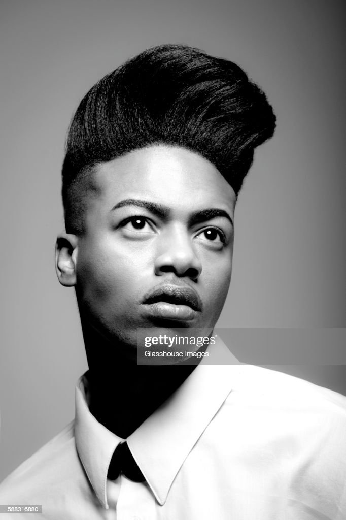 Young Man with Pompadour, Portrait : Stock Photo