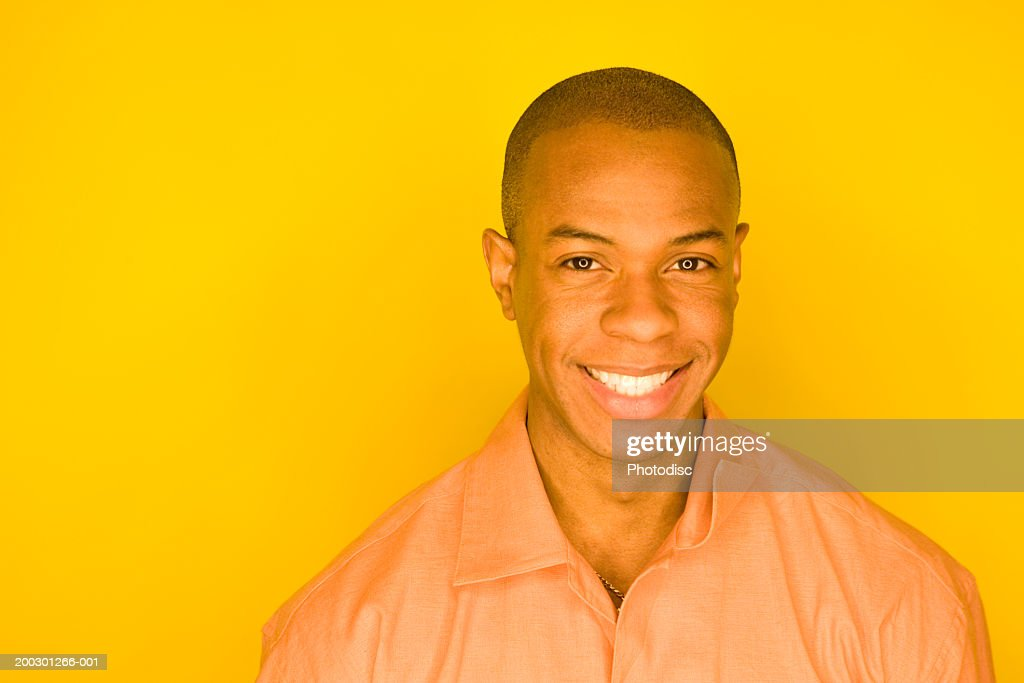 young man shaved head