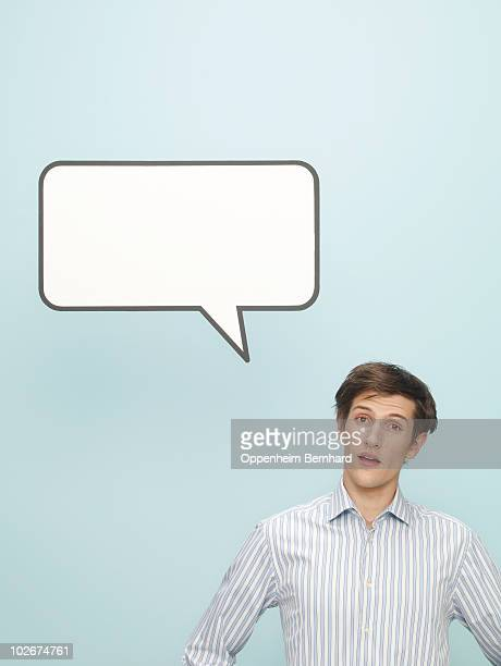 young man with speech bubble