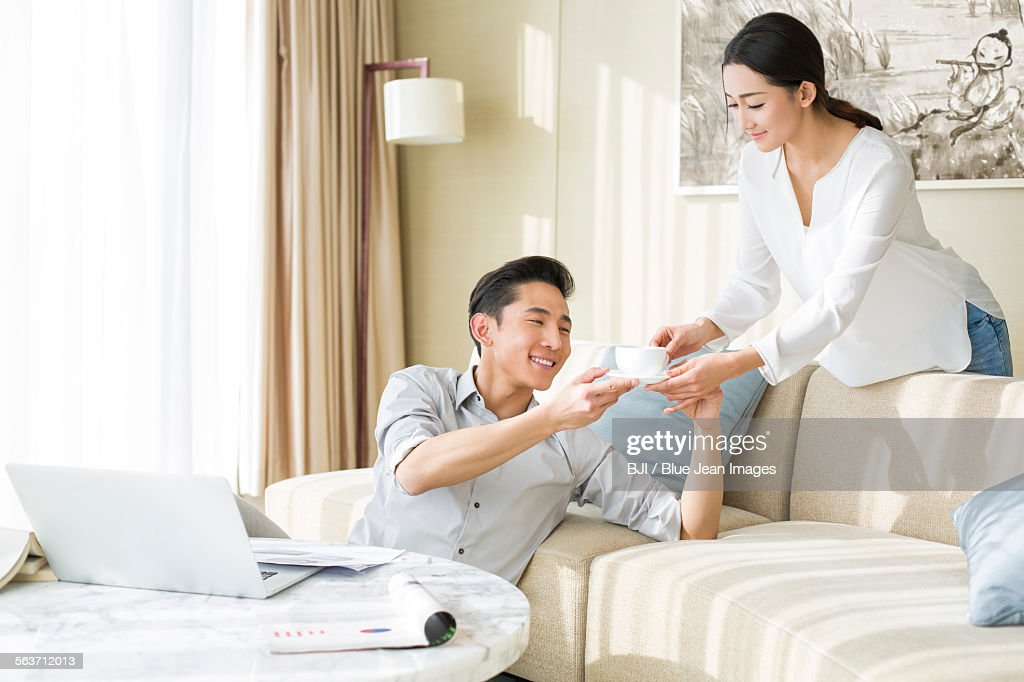husband and wife work from home