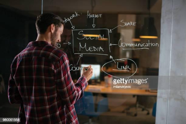 ung man skriver på glasvägg i office - coo bildbanksfoton och bilder
