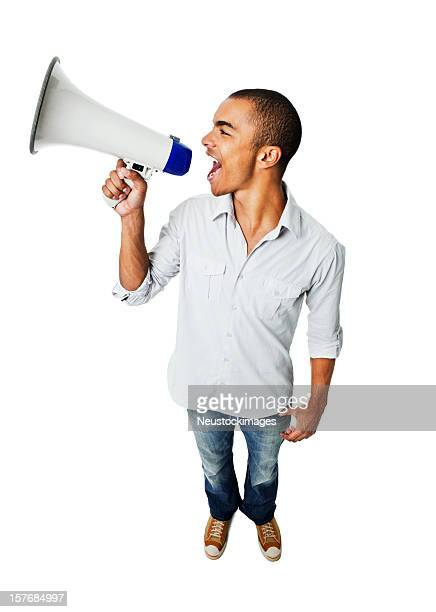 Young Man Yelling Through Megaphone - Isolated
