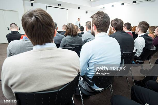 young manager at the business seminar - big mike stock pictures, royalty-free photos & images