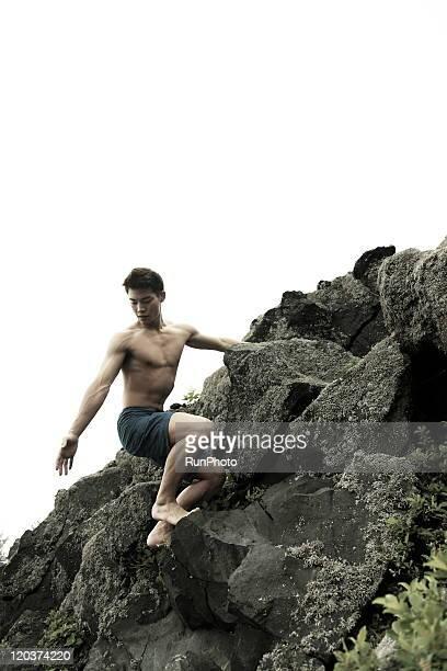 young man,outdoor exercise,Rock Climbing