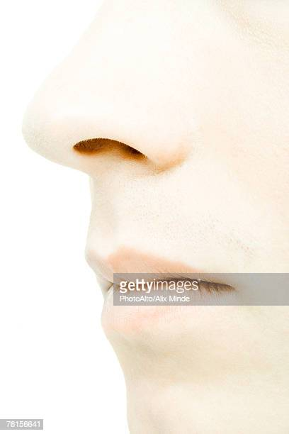 'Young man's face, extreme close-up'