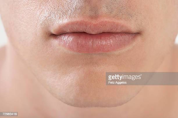 Young man's lips, close-up