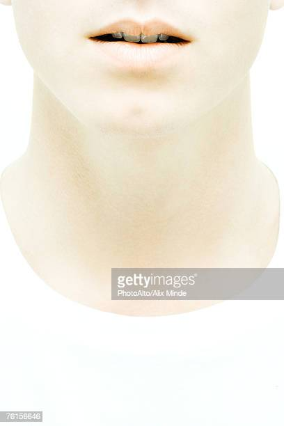 """""""young man's lower face and neck, close-up"""" - throat photos stock photos and pictures"""