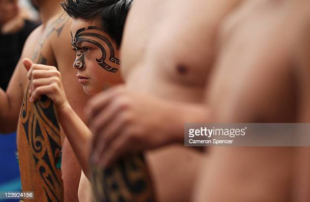 A young Maori boy welcomes the Australian Wallabies at the IRB Rugby World Cup 2011 official team welcome ceremony at Aotea Square on September 6...