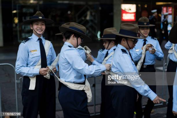 Young marchers are pictured on April 25 2019 in Sydney Australia Australians commemorating 104 years since the Australian and New Zealand Army Corp...