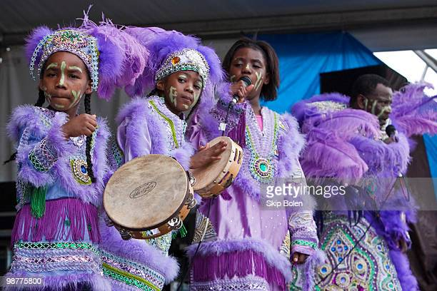Young Mardi Gras Indian girls of the Fi Yi Yi and the Mandingo Warriors performs during day 5 of the 41st Annual New Orleans Jazz Heritage Festival...