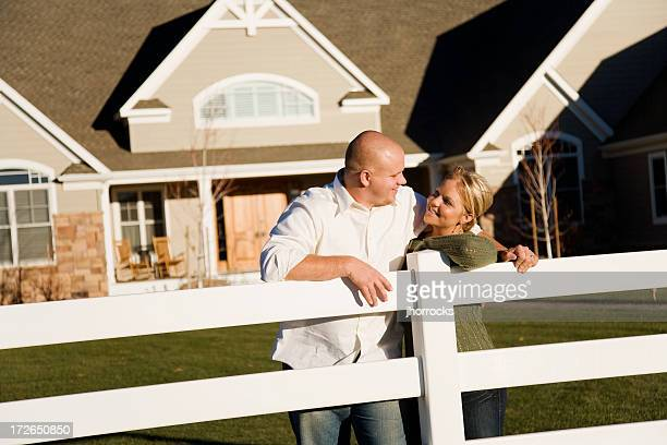 Young Married Couple in Front Yard