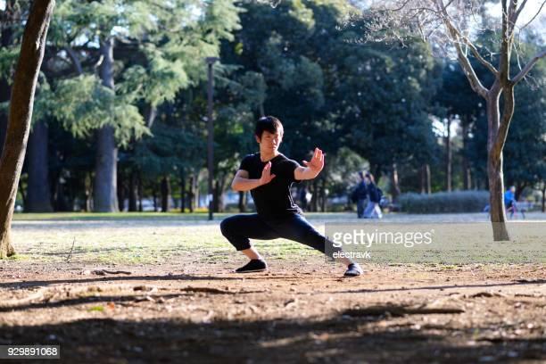 entusiasta de jóvenes las artes marciales practicando fuera de - kung fu fotografías e imágenes de stock