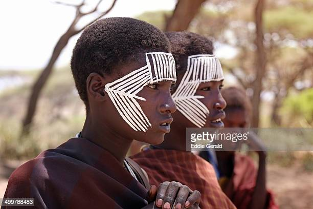 CONTENT] Young Masai Moran warriors with face markings in the Ngorongoro Conservation Area Tanzania Eastern Africa