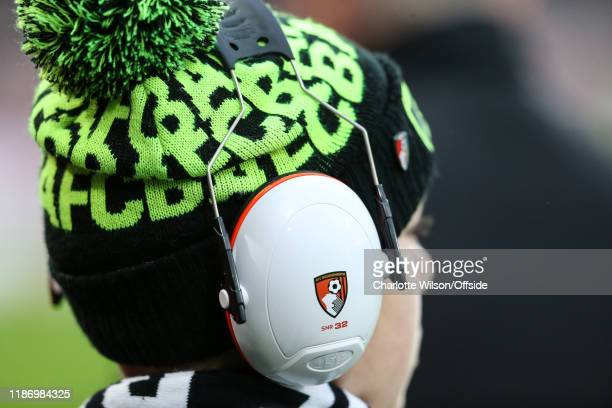 A young mascot with Bournemouth noise cancelling headphones during the Premier League match between AFC Bournemouth and Liverpool FC at Vitality...
