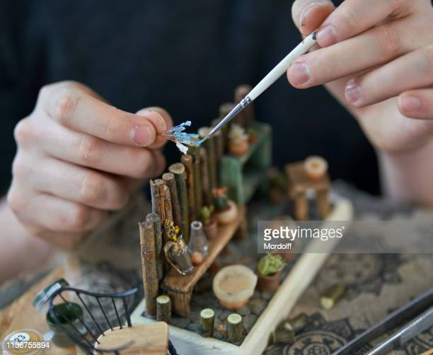 Young Master Is Creating Miniature Diorama