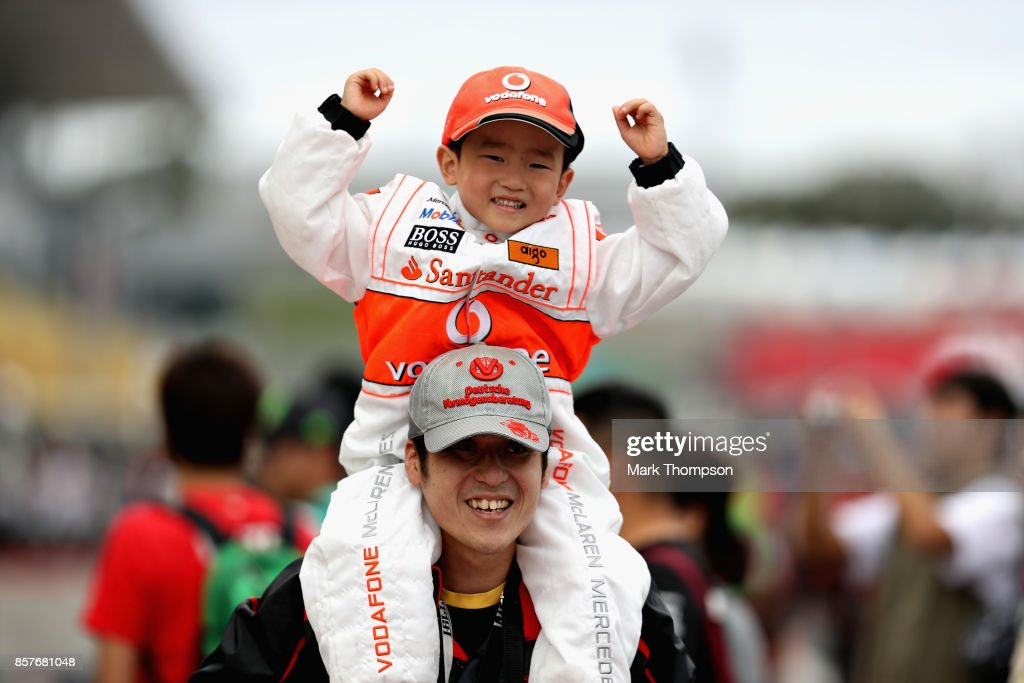 A young McLaren fan during previews ahead of the Formula One Grand Prix of Japan at Suzuka Circuit on October 5, 2017 in Suzuka.