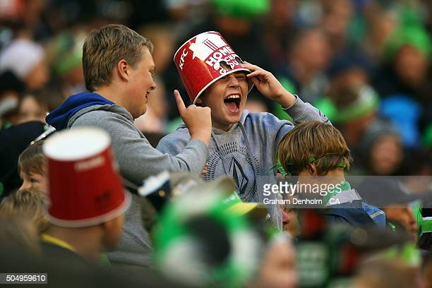 A young Melbourne Stars fan shows his support during the Big Bash League match between the Melbourne Stars and the Brisbane Heat at Melbourne Cricket...