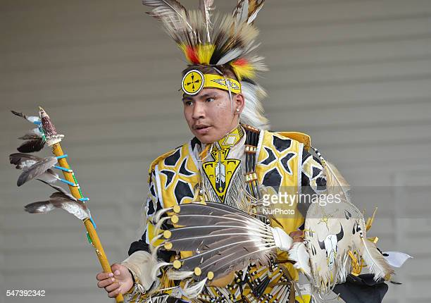 A young member of the First Nations during a traditional Pow Wow competition during Calgary Stampede 2016 On Wednesday 13 July 2016 in Calgary Canada