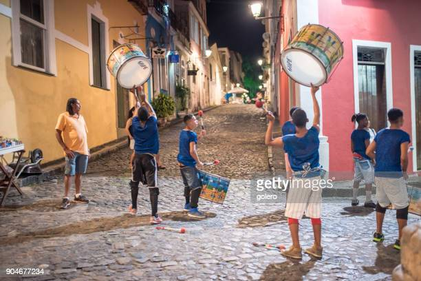 young members of drummer school at historic Center Pelourinho in Salvador