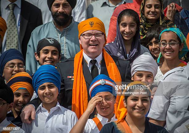 Young members of the Guru Gobind Singh temple are committed to combating prejudice and bullying on April 2014 in Potomac MD Pictured Lt Brian Murphy...