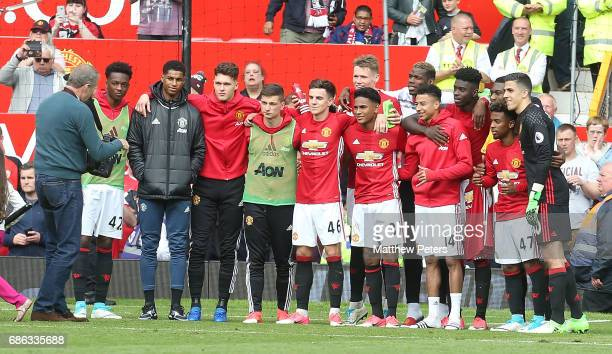 Young members of the Manchester United first team squad pose for a photograph after the Premier League match between Manchester United and Crystal...