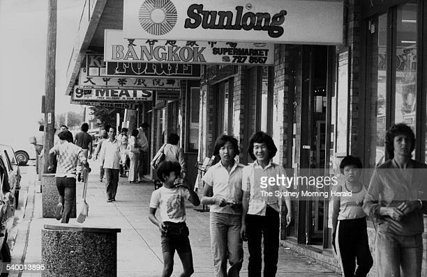 Young members of the Vietnamese community in Sydney's Cabramatta on 17 November 1982 SMH NEWS Picture by STAFF