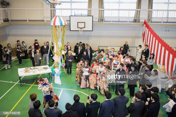 Young men and women seen wearing kimonos during the ceremony 125 million People celebrated their passage into adulthood on the Coming of Age Day a...