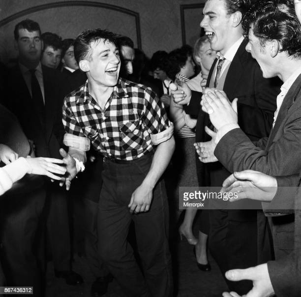 Young men dancing to Rock and Roll music at the Crown and Anchor pub in Brixton south London September 1956