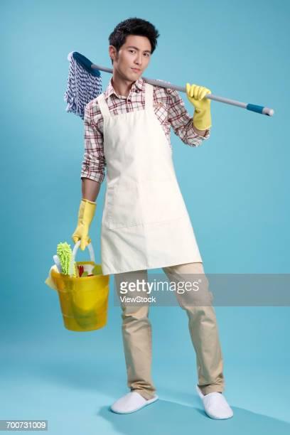 Young men do housework