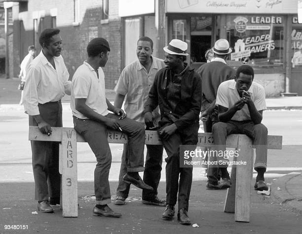 Young men from the near South Side neighborhood of Chicago mill about around 43rd Street and Langley Avenue where the mural 'Wall of Respect' was...