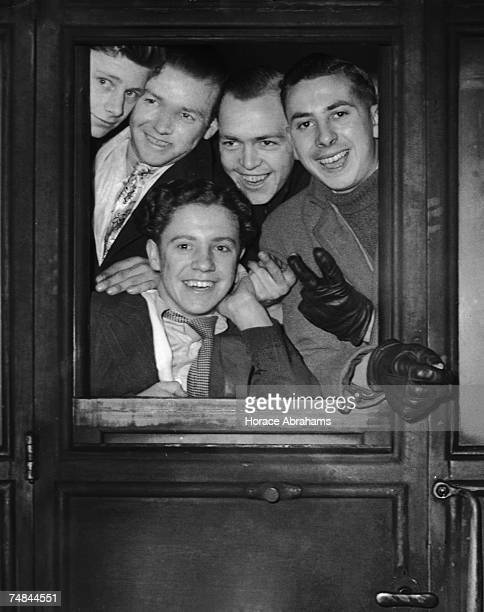Young men leaving London to work in Mollison Old Colliery Durham after being recruited by a ballot process 18th January 1944