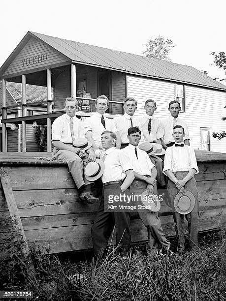 Young men pose at a lakeside resort in New York State ca 1911