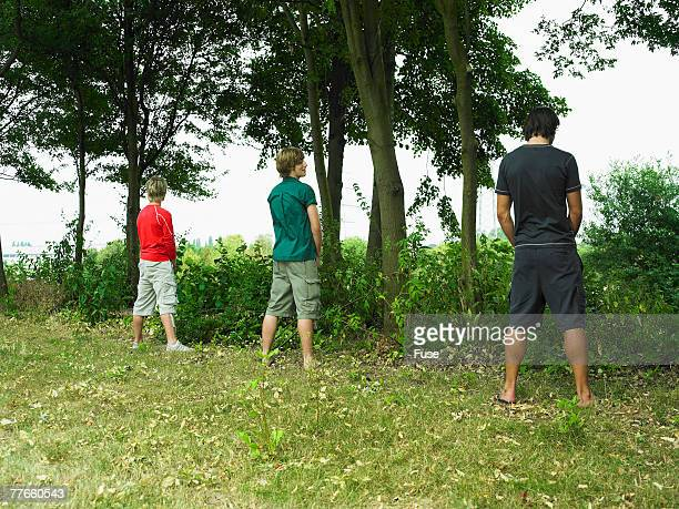 young men urinating on the bushes - urinary system stock photos and pictures