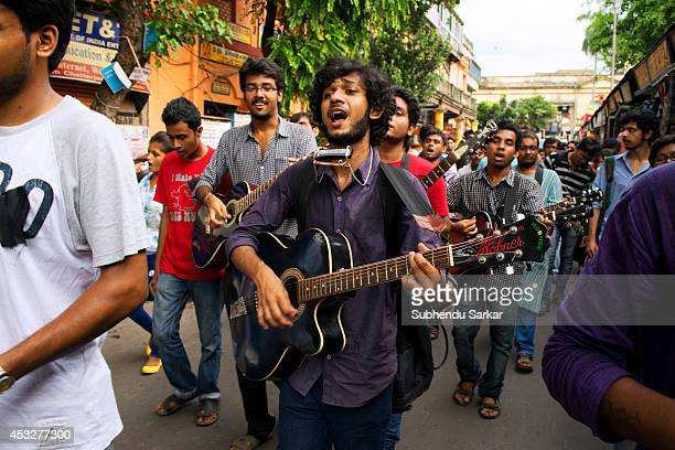 Young men walk in a procession singing antiwar songs on the streets of Kolkata Youths of Kolkata organised a protest against war on Hiroshima Day...